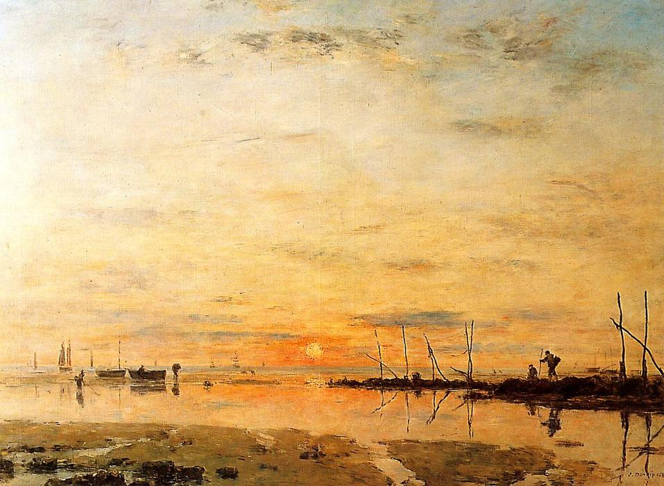 famous painting Le Havre, Sunset at Low Tide of Eugène Louis Boudin