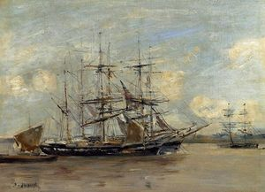 Eugène Louis Boudin - Le Havre, Three Master at Anchor in the Harbor