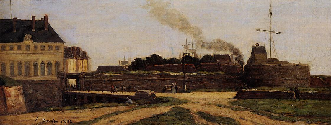 famous painting Le Havre, the Town Hotel and the Francois I Tower of Eugène Louis Boudin