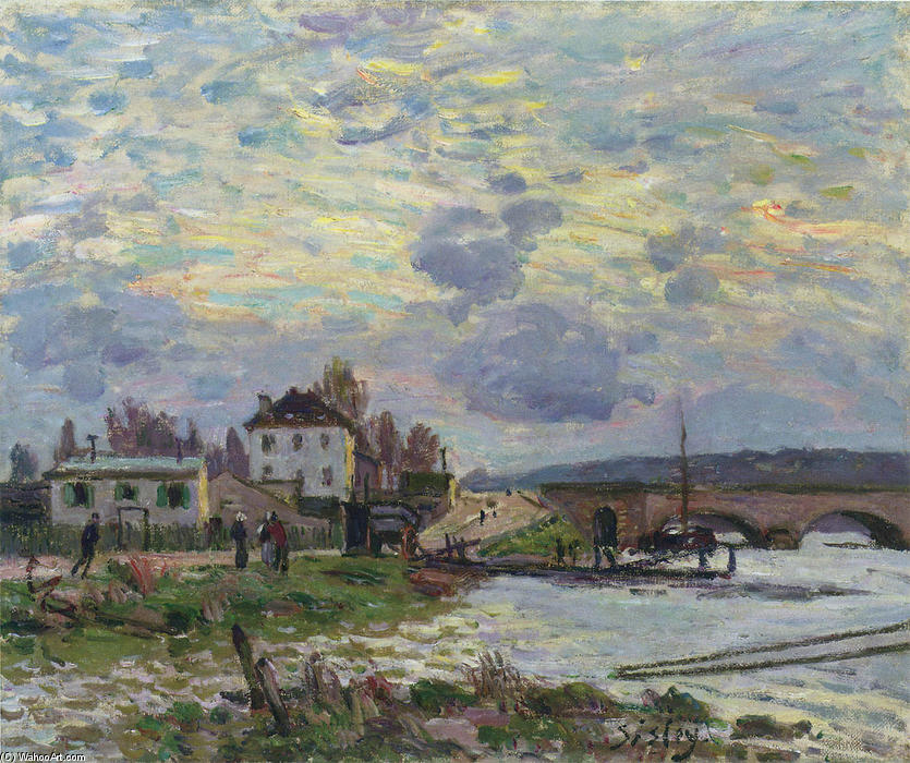 famous painting Le Pont de Sevres of Alfred Sisley