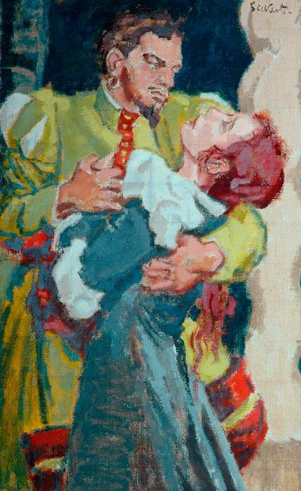 famous painting Leslie Banks as Petruchio and Edith Evans as Katherine in 'The Taming of the Shrew' of Walter Richard Sickert