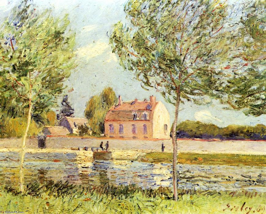 famous painting Houses on the banks of the Loing of Alfred Sisley