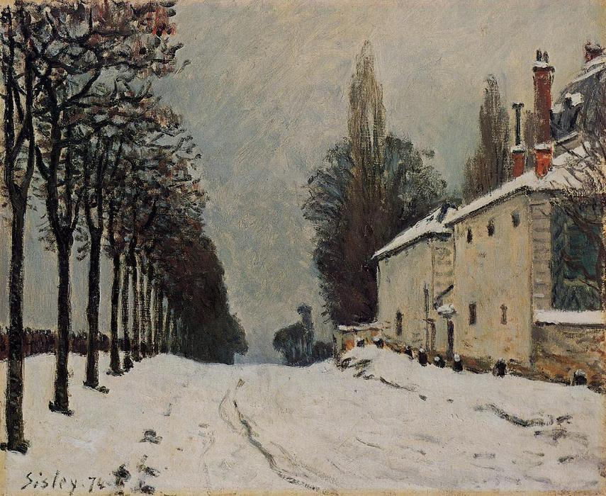 famous painting Snow on the Road, Louveciennes (Chemin de la Machine) of Alfred Sisley