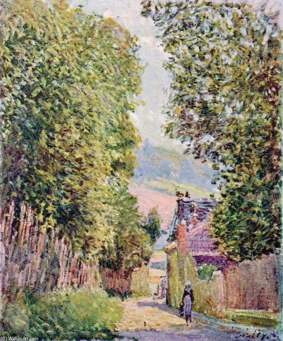 famous painting A Street in Louveciennes of Alfred Sisley