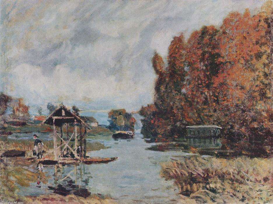 famous painting Washerwomen of Bougival of Alfred Sisley