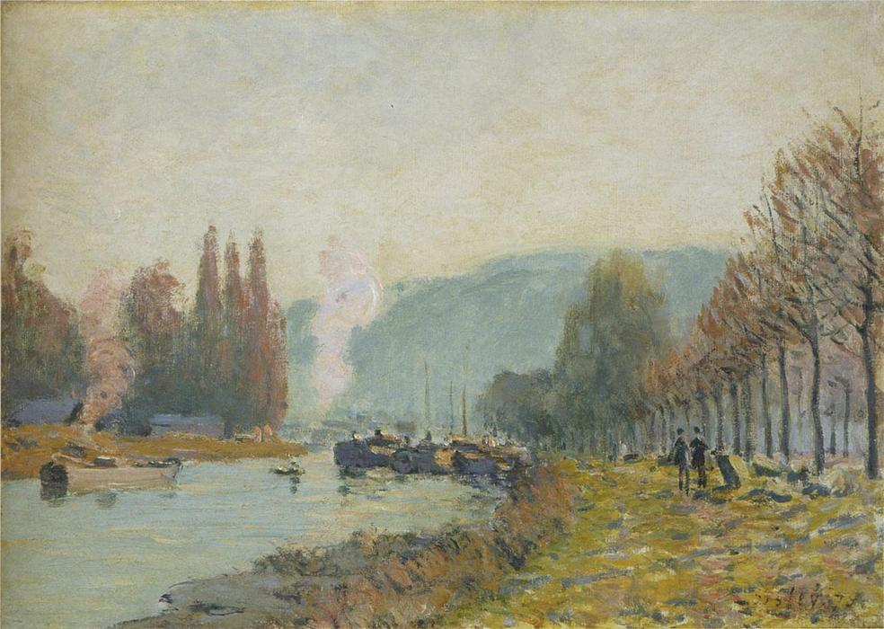famous painting The Seine at Bougival of Alfred Sisley