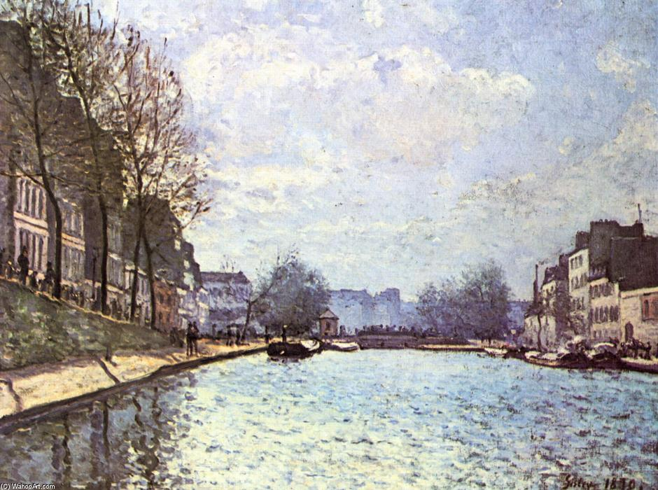 famous painting View of the Canal Saint Martin of Alfred Sisley