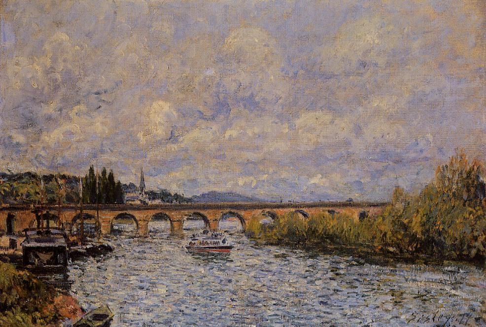 famous painting The Sevres Bridge of Alfred Sisley