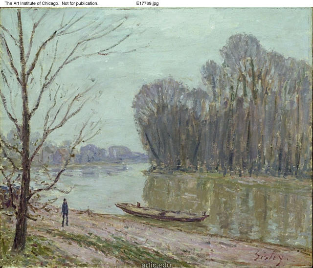famous painting Banks of the Loing, Winter of Alfred Sisley