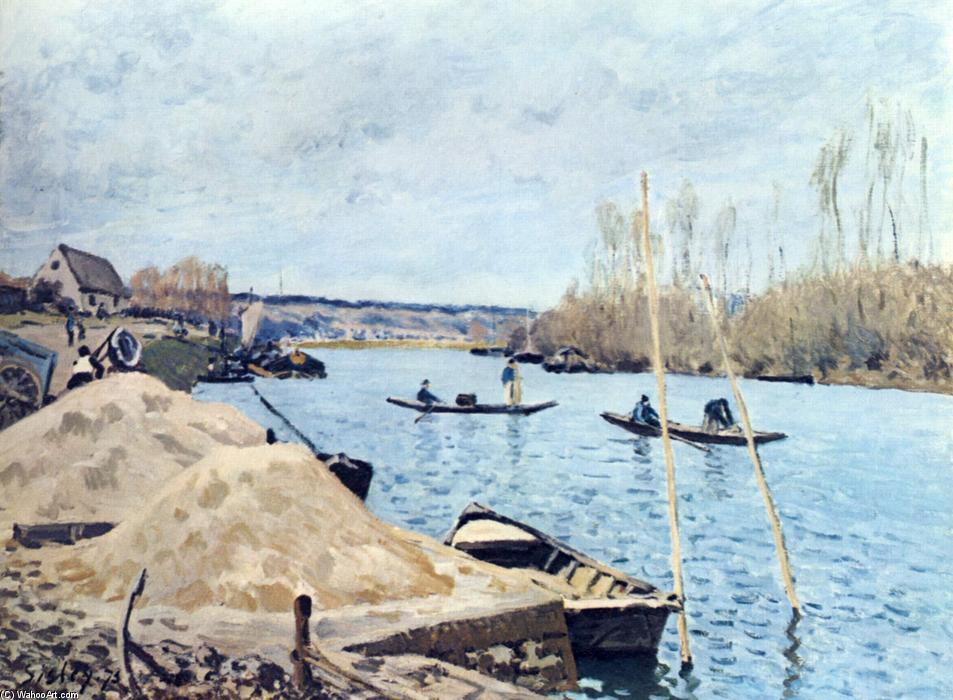 famous painting The Seine at Port Marly sand piles of Alfred Sisley