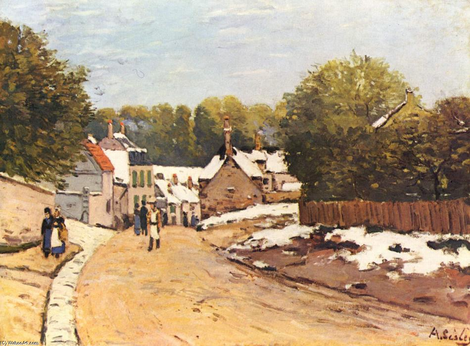famous painting First Snow in Louveciennes of Alfred Sisley
