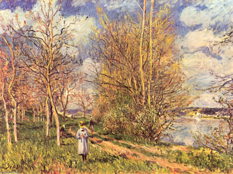 famous painting Small Meadows in Spring of Alfred Sisley