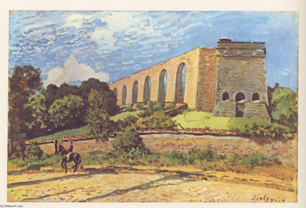 famous painting The Aqueduct at Marly of Alfred Sisley