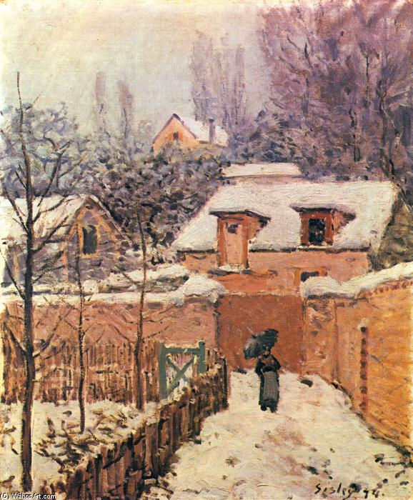 famous painting Garden in Louveciennes in the Snow of Alfred Sisley