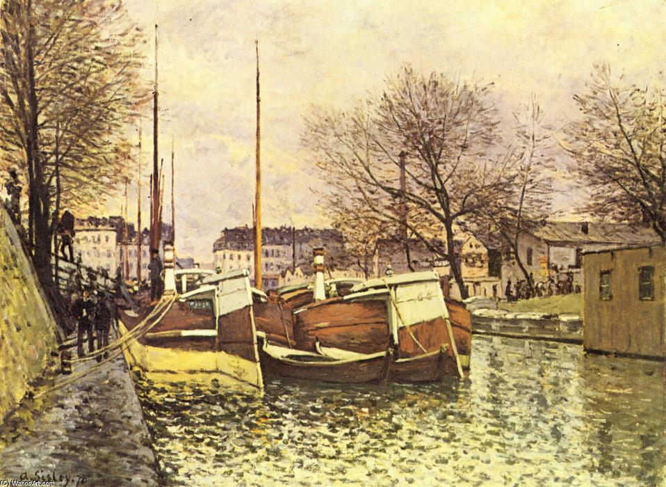 famous painting Barges on the Canal Saint Martin in Paris of Alfred Sisley