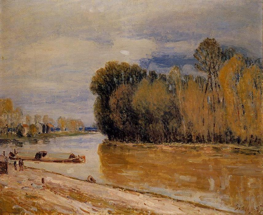 famous painting The Loing Canal of Alfred Sisley
