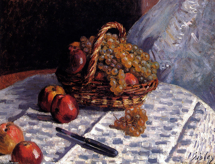 famous painting Apples and Grapes in a Basket of Alfred Sisley
