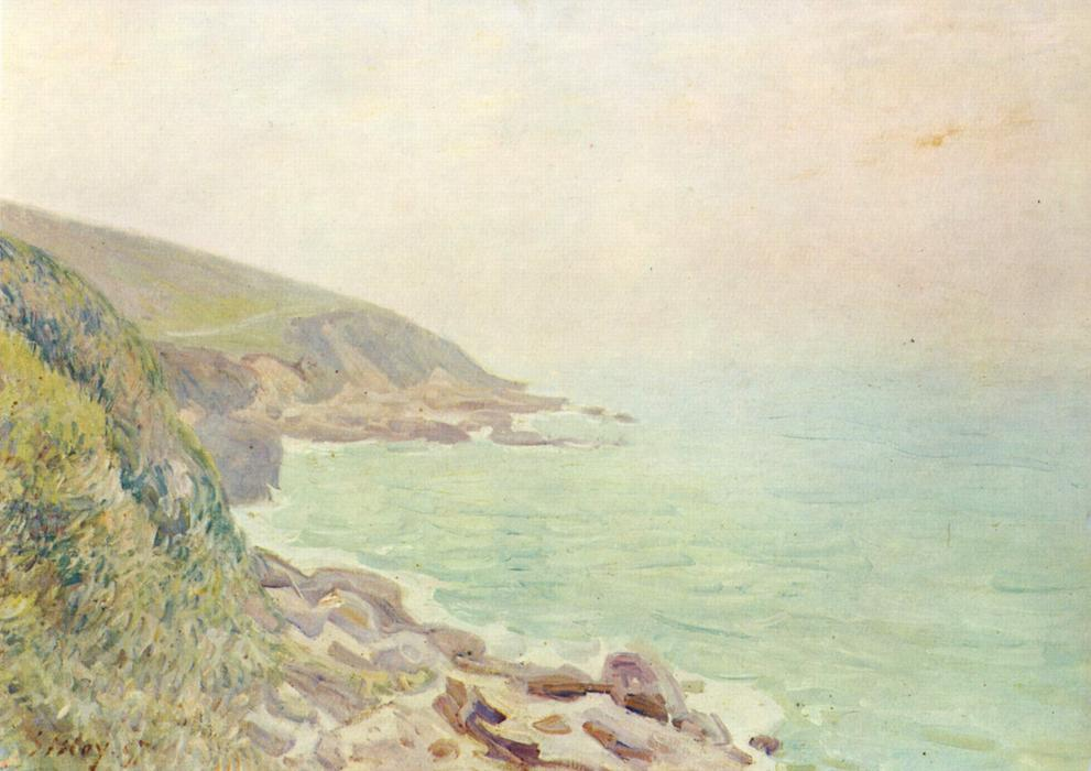 famous painting Welsh Coast in the fog of Alfred Sisley