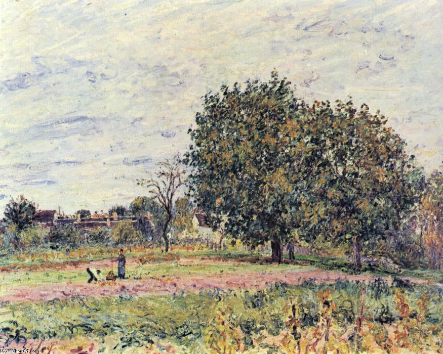 famous painting Walnut trees at sunset in early October of Alfred Sisley
