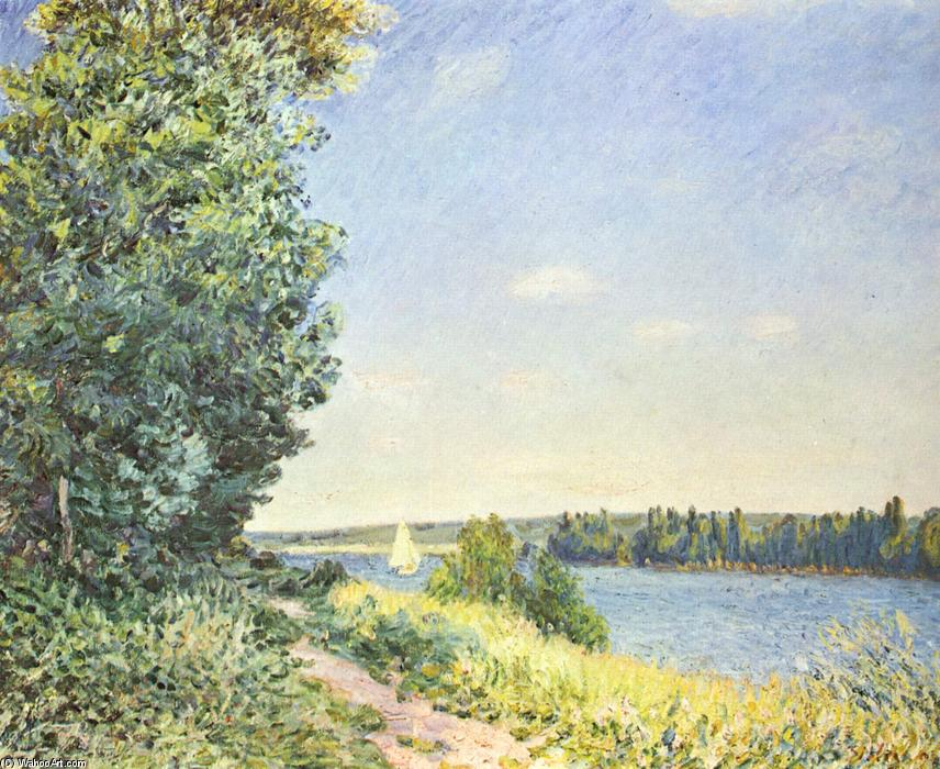 famous painting Normandy, the water path, in the evening at Sahurs of Alfred Sisley