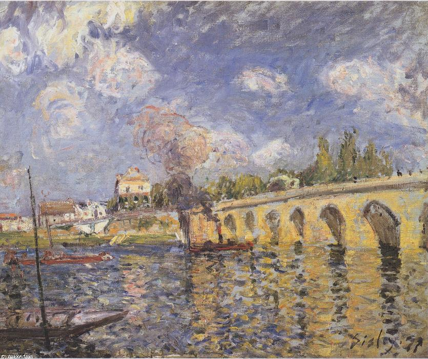 famous painting River steamboat and bridge of Alfred Sisley