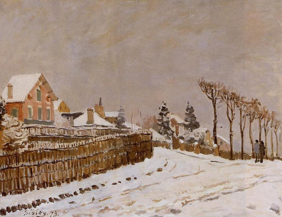 famous painting Snow at Louveciennes of Alfred Sisley