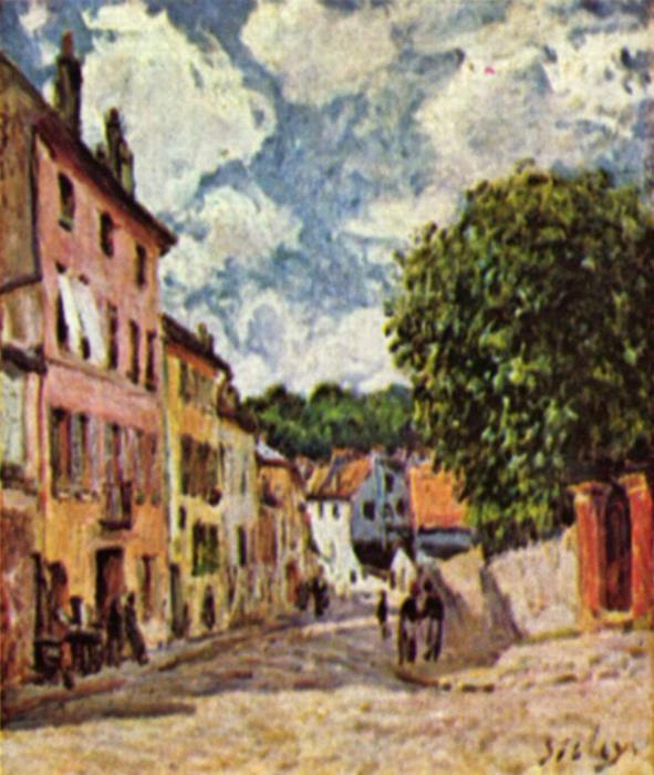 famous painting Street in Moret Sur Loing of Alfred Sisley