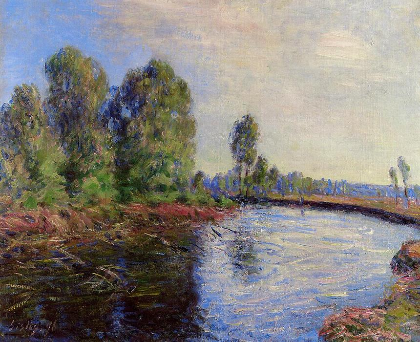 famous painting Banks of the Loing of Alfred Sisley