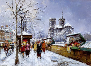 Antoine Blanchard (Marcel Masson) - Booksellers Notre Dame, Winter