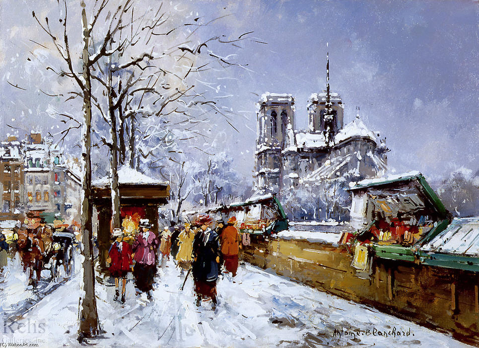famous painting Booksellers Notre Dame, Winter of Antoine Blanchard (Marcel Masson)