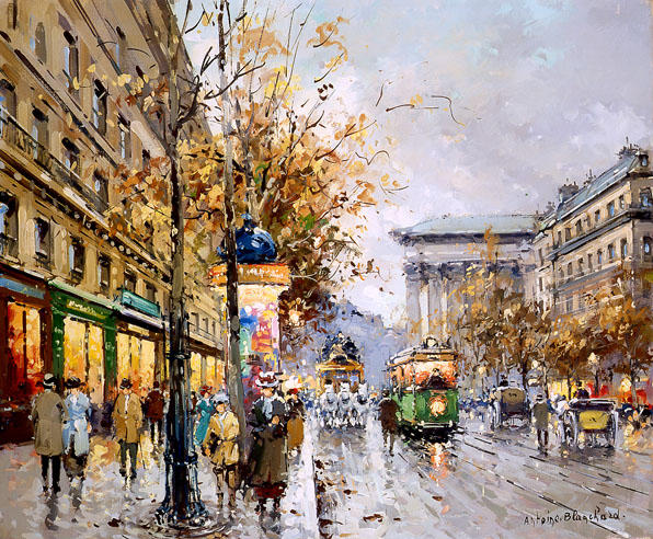 famous painting Boulevard des Capucines of Antoine Blanchard (Marcel Masson)