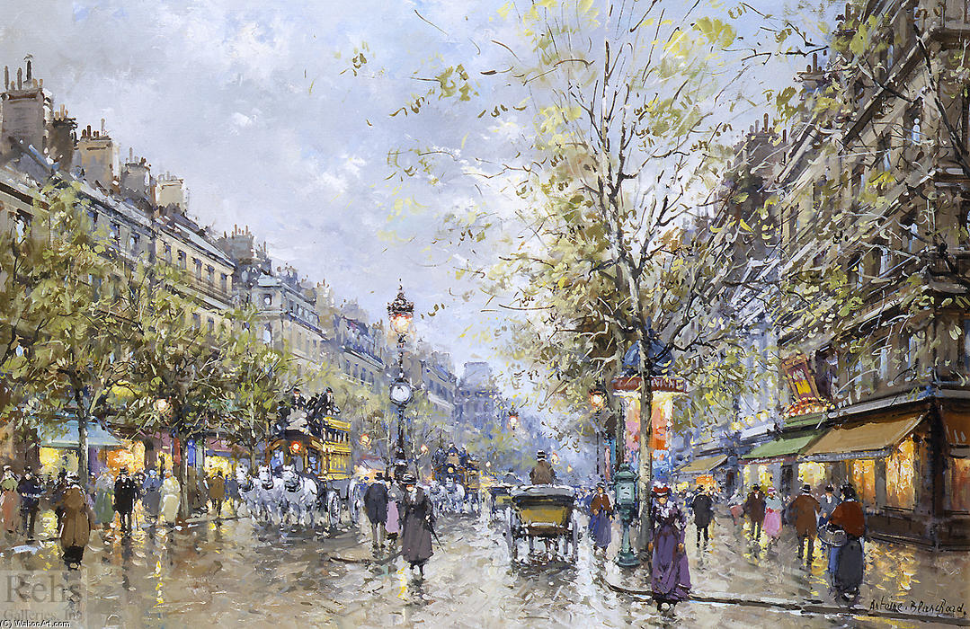 famous painting Boulevard Haussmann of Antoine Blanchard (Marcel Masson)