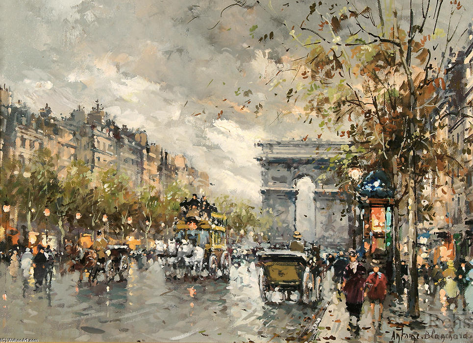 famous painting Champs Elysees, Arc de Triomphe of Antoine Blanchard (Marcel Masson)