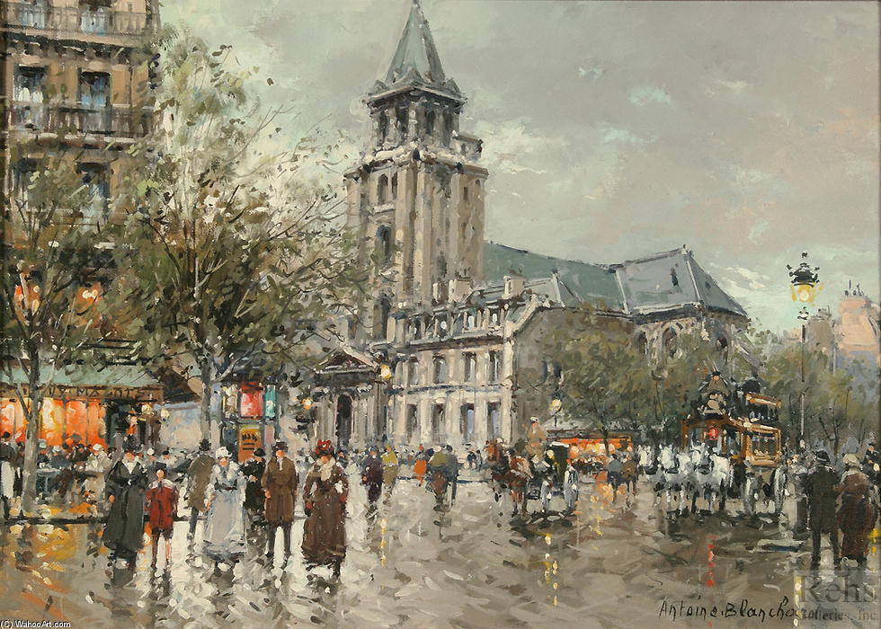 famous painting Eglise de Saint Germain des pres of Antoine Blanchard (Marcel Masson)