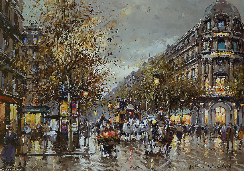 famous painting Les Grand Boulevards, Theatre du Vaudeville of Antoine Blanchard (Marcel Masson)