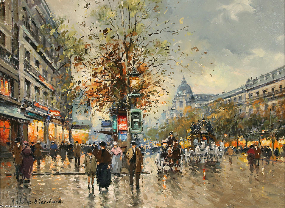 famous painting Les Grands Boulevards of Antoine Blanchard (Marcel Masson)