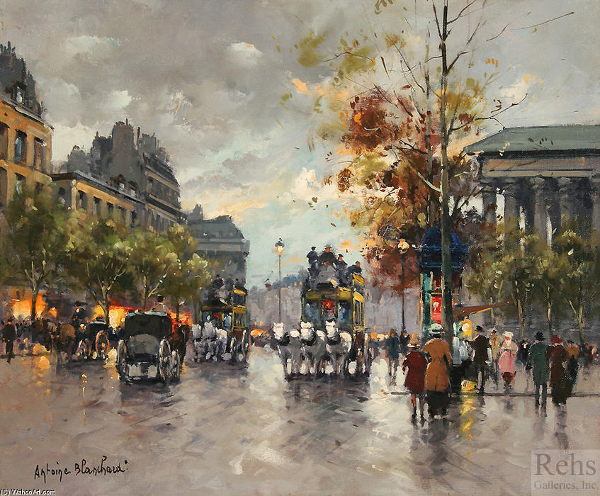 famous painting Omnibus on the place de la Madeleine of Antoine Blanchard (Marcel Masson)