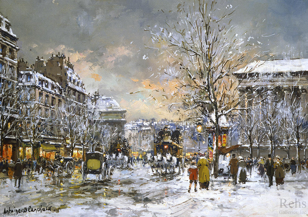 famous painting Omnibus on the place de la Madeleine, Winter of Antoine Blanchard (Marcel Masson)