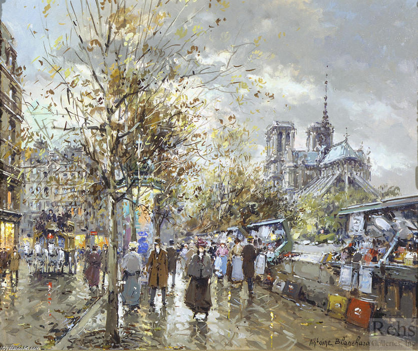famous painting Paris, Les Bouquinistes of Antoine Blanchard (Marcel Masson)