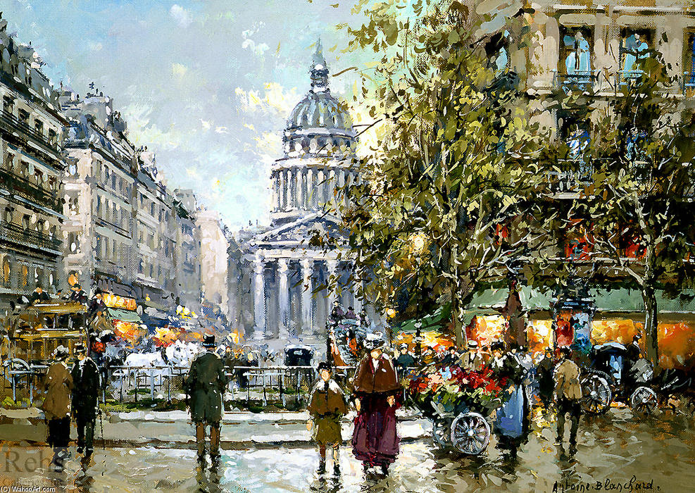 famous painting Place du Luxembourg le Pantheon of Antoine Blanchard (Marcel Masson)