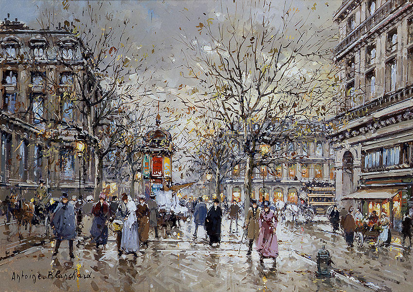 famous painting Place du Palais Royal of Antoine Blanchard (Marcel Masson)