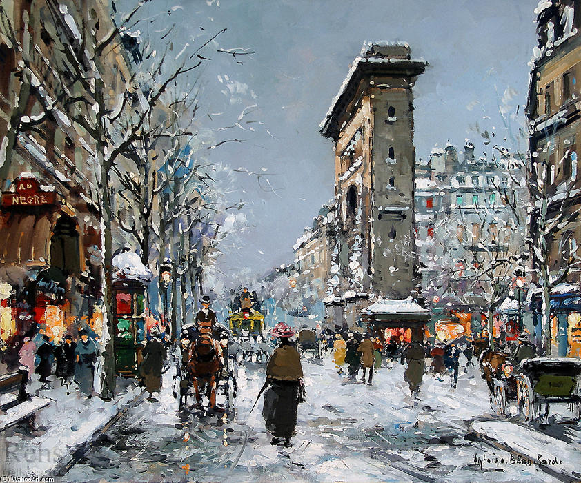 famous painting Porte St. Denis, Winter of Antoine Blanchard (Marcel Masson)