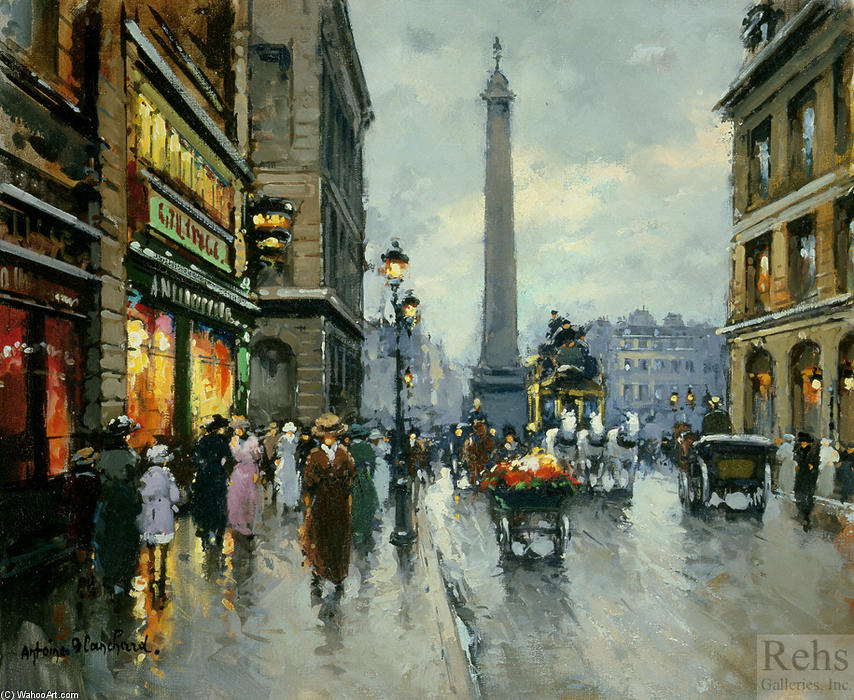 famous painting Rue de la Paix Place Vendome of Antoine Blanchard (Marcel Masson)