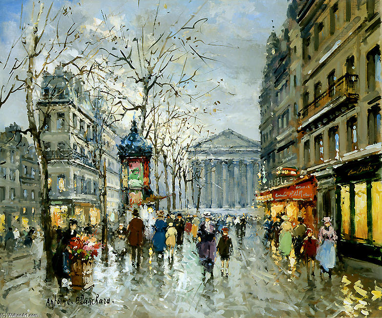 famous painting Rue Tronchet la Madeleine of Antoine Blanchard (Marcel Masson)