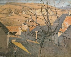 Balthus (Balthasar Klossowski) - Large Landscape with a Tree