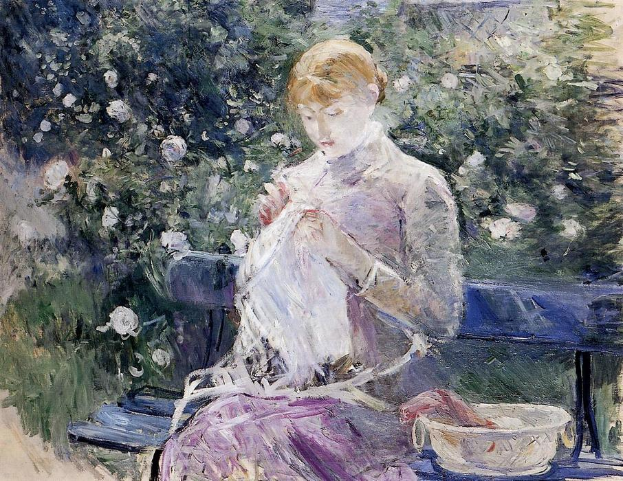 famous painting Pasie sewing in Bougival's Garden of Berthe Morisot