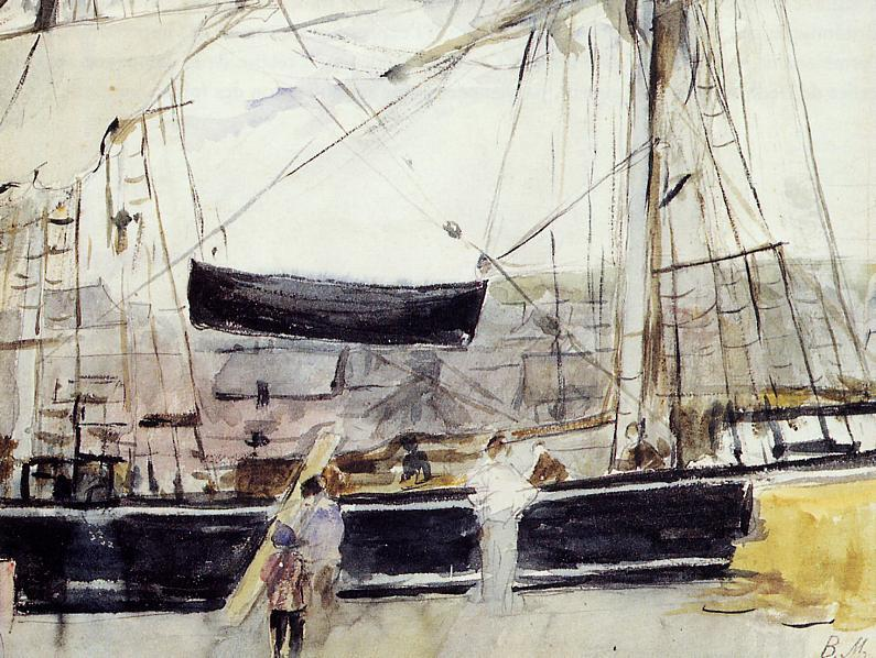 famous painting Boat on the Quay of Berthe Morisot