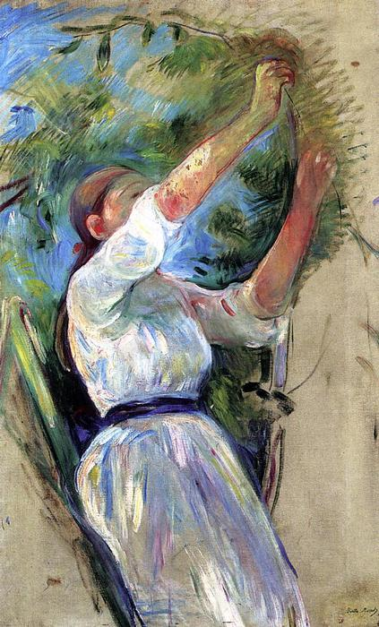 famous painting Girl gathering cherries of Berthe Morisot
