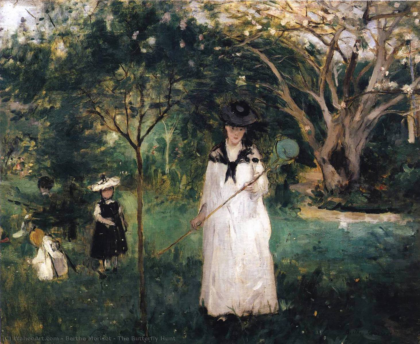 famous painting The Butterfly Hunt of Berthe Morisot