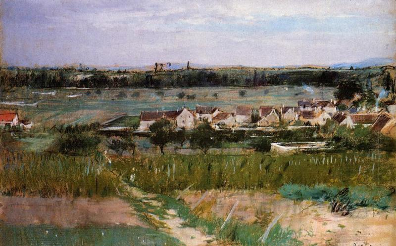 famous painting The village of Maurecourt of Berthe Morisot